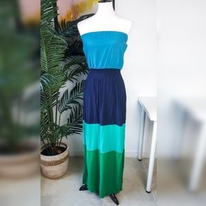 GAP Blue Green Colorblock Strapless Maxi Dress XS